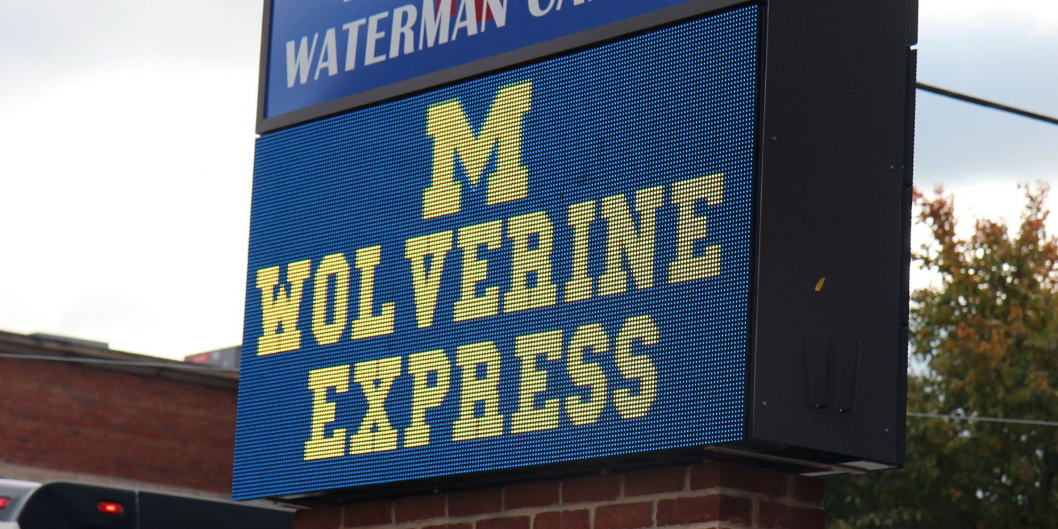 Wolverine Express sign at high school